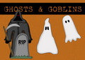 Ghosts & Goblins Halloween Background Stock Images