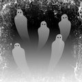 Ghosts in the Halloween night, grunge frame