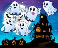 Ghosts near haunted house theme 4 Royalty Free Stock Photo