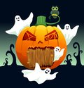 Ghosts and pumpkin house fly around cartoon illustration Royalty Free Stock Images