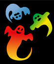 Ghosts three colorful on black background Royalty Free Stock Images