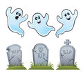 Ghosts and tombstones cartoon illustration of three fun ghost characters three assorted sitting on grassy mounds Royalty Free Stock Images