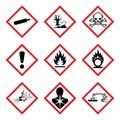 GHS 9 New Hazard Pictogram. Hazard warning sign WHMIS , isolated vector illustration