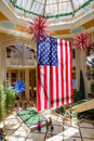 Giant american flag hanging in a shopping mall in las vegas Stock Images