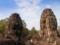 Giant buddha face at Bayon Temple, Cambodia. Royalty Free Stock Photo