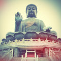Giant buddha in hong kong retro style filtred image Stock Images