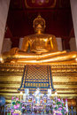 Giant Buddha image at Wat Mongkol Bophit temple Royalty Free Stock Photo