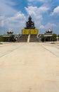Giant buddha stock image sitting on blue sky background Royalty Free Stock Photo