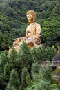 Giant copper buddha statue shot at jeng de temple puli town taiwan asia Royalty Free Stock Photos