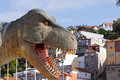 Giant dinosaur t rex head of a used in promoting an exhibition of prehistoric animals in porto photo taken on may Royalty Free Stock Images