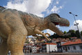Giant dinosaur t rex used in promoting an exhibition of prehistoric animals in porto photo taken on may Royalty Free Stock Photos