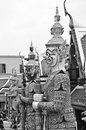 Giant at Emerald Buddha temple.black and white.