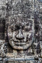 Giant face prasat bayon temple angkor thom cambodia at Stock Photo