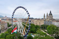 Giant ferris wheel in downtown budapest hungary june sziget eye m high being installed elisabeth park city centre of as seen from Stock Photography