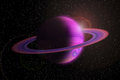Giant gas planet with ring in outer space and flare stars Royalty Free Stock Photos