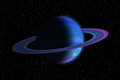 Giant gas planet with ring in outer space and stars Royalty Free Stock Photos