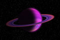 Giant gas planet with ring in outer space and stars Stock Photography