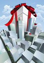 Giant gift in city Royalty Free Stock Photo