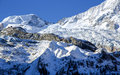 Giant glacier tongue fee glacier fee gletscher in saas fee are covered with snow creating a beautiful winter landscape switzerland Royalty Free Stock Photos
