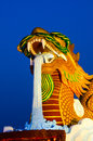Giant gold dragon with blue sky Royalty Free Stock Photo