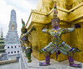 Giant guardian at Emerald Buddha Temple, black and white