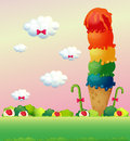 A giant ice cream at the hilltop illustration of Royalty Free Stock Photos