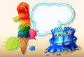 A giant icecream beside the two blue monsters illustration of Stock Photos