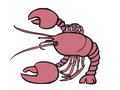 Giant lobster cartoon character of red Royalty Free Stock Images