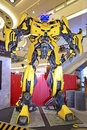Giant model of bumblebee from transformers on display in public mall getting ready for the premier for age extinction this is Stock Images