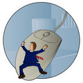 Giant Mouse Computer Trouble Royalty Free Stock Photo