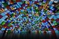 Giant multimedia wall Royalty Free Stock Photo
