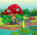 A giant mushroom house with a dragonfly illustration of Stock Image