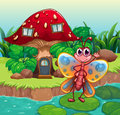 A giant mushroom house near the river with a butterfly illustration of Royalty Free Stock Image