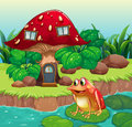 A giant mushroom house near the river with a frog illustration of Stock Photo