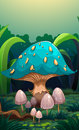 A giant mushroom surrounded with small mushrooms illustration of Stock Image
