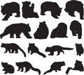 Giant panda and red panda or lesser panda silhouette contour