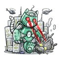 Giant Robot Cat Destroying The City Royalty Free Stock Photo