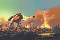 The giant robot launching rocket punch destroy the city Royalty Free Stock Photo