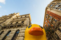 Giant rubber duck in bilbao the center of Stock Photography