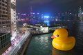 Giant rubber duck visits hong kong the m tall public art installation created by dutch artist florentijn hofman made a splash in Stock Photography