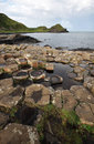 Giant s causeway stones and landscape near bushmills in northern ireland Stock Photography