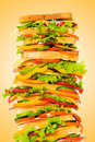 Giant sandwich against gradient Stock Photos