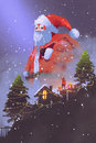 Giant santa claus giving gift boxes to a boy Royalty Free Stock Photo