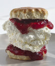 Giant scone cream jam plate ending debate jam cream first as has both Royalty Free Stock Image