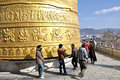 Giant tibetan prayer wheel buddhists turning a Stock Image