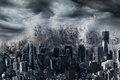 Giant tsunami over new york city natural disaster catastrophe Royalty Free Stock Image