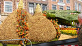Giant tulip bulbs made of flower parade netherlands Royalty Free Stock Photo