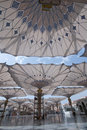 Giant umbrellas at Nabawi Mosque in Medina Stock Image