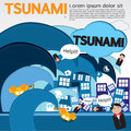Giant wave attacks the town illustration vector eps Royalty Free Stock Images