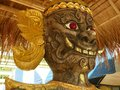 Giant wood carving face in prabudabathsiroi temple Royalty Free Stock Images